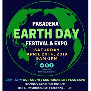 Pasadena Earth Day, Saturday, April 20, 2019 9:00 am