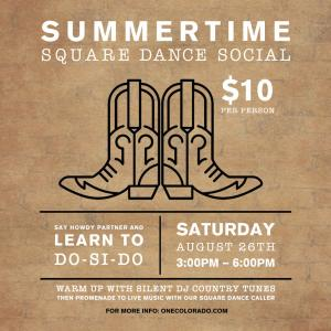 Summertime Square Dance Social, Saturday, August 26, 2017 3:00 pm