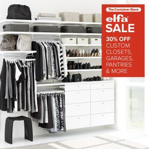 The Container Store's elfa Sale, Wednesday, January 10, 2018