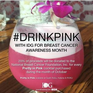 Sushi Roku's Drink Pink Month, Sunday, October 1, 2017 11:30 am