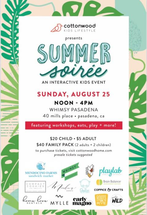 Whimsy Pasadena hosts a Summer Soiree for families, August 25, 2019