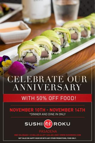 Sushi Roku celebrates 19 years with an anniversary special